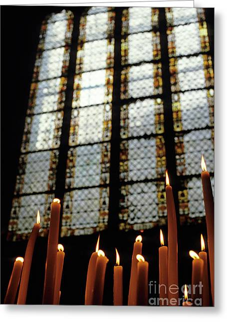 Candles Burning In Front Of A Stained Glass Window In The Auch Cathedral Greeting Card
