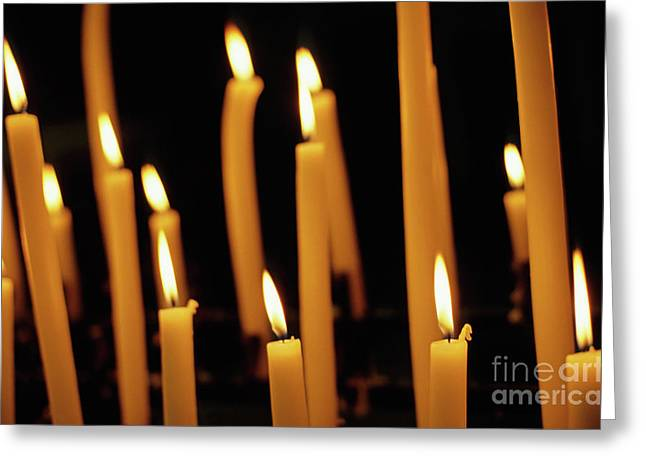 Candles Burning In The Auch Cathedral Greeting Card