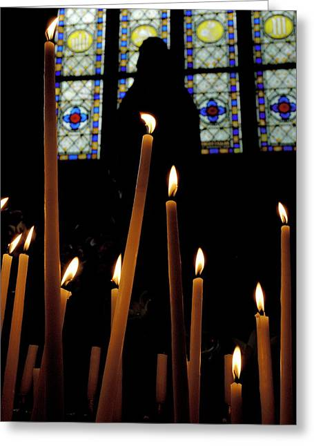 Burning Statue Greeting Cards - Candles burning inside the Basilica of the Saint Sauveur Greeting Card by Sami Sarkis