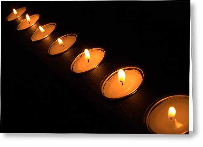 Candles In A Row Greeting Card by Alexander Fedin