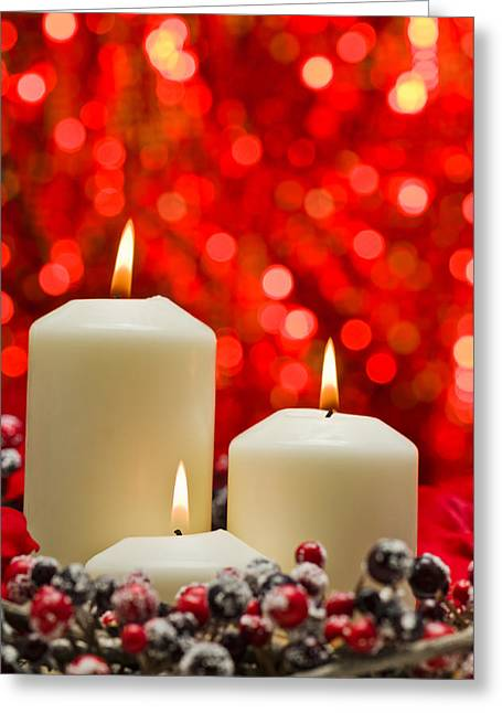 Candles In Autumn Winter Decoration Greeting Card by Ulrich Schade