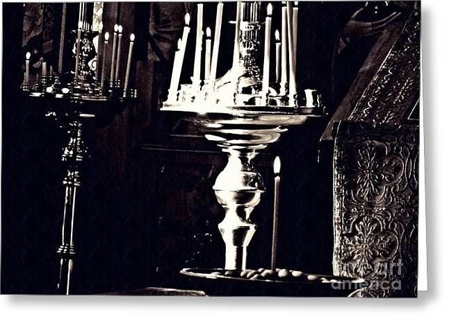 Candles In Church Card 1 Greeting Card