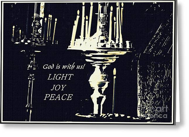 Candles In Church Card 3 Greeting Card