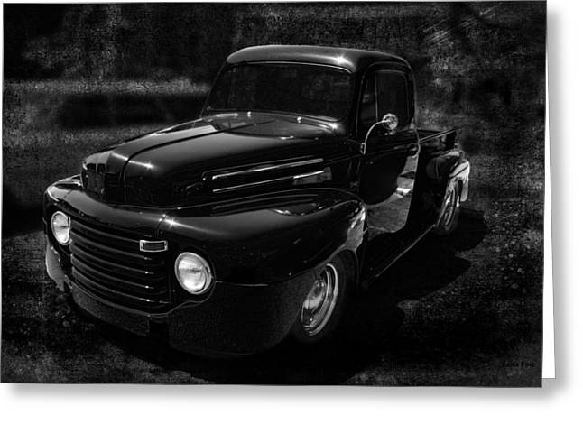 Vintage  F1 Chevy Truck Bw Greeting Card by Lesa Fine