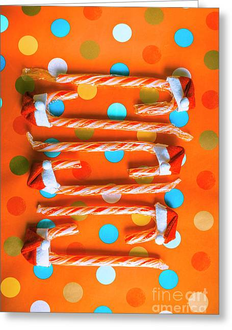 Candy Canes And Christmas Hats Greeting Card