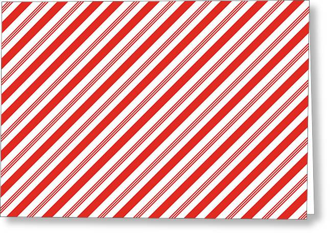 Candy Canes Stripes- Art By Linda Woods Greeting Card