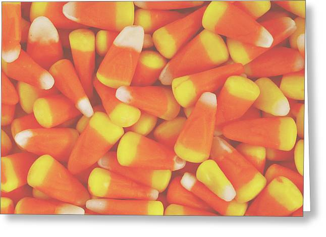 Candy Corn Square- By Linda Woods Greeting Card by Linda Woods