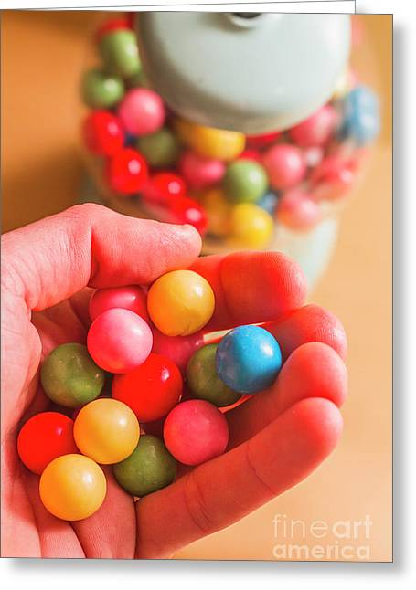 Candy Hand At Lolly Store Greeting Card