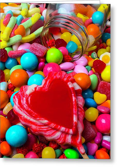 Candy Heart And Jar Greeting Card by Garry Gay