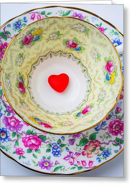 Candy Heart In Tea Cup Greeting Card