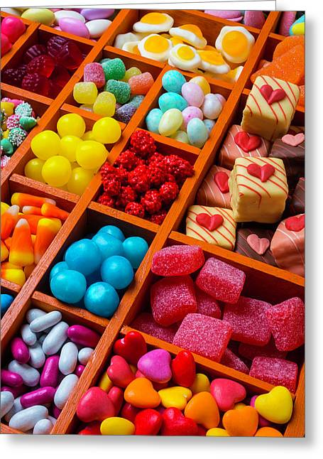 Candy In Compartments Greeting Card