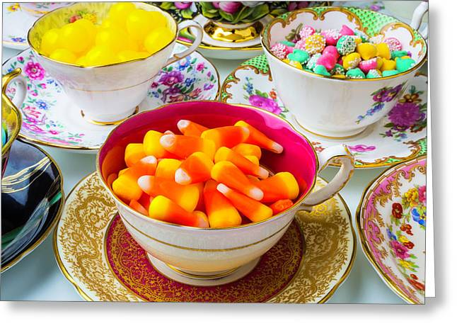 Candy In Tea Cups Greeting Card