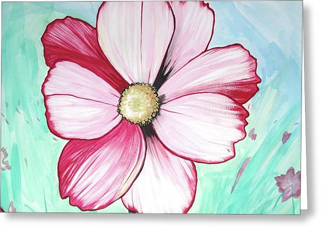 Candy Stripe Cosmos Greeting Card