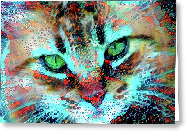 Candy The Colorful Green Eyed Cat Greeting Card
