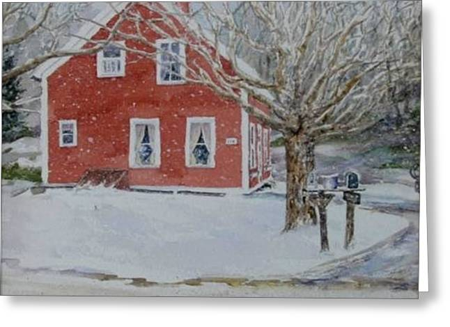 Candy's House Greeting Card by Debbie Peate