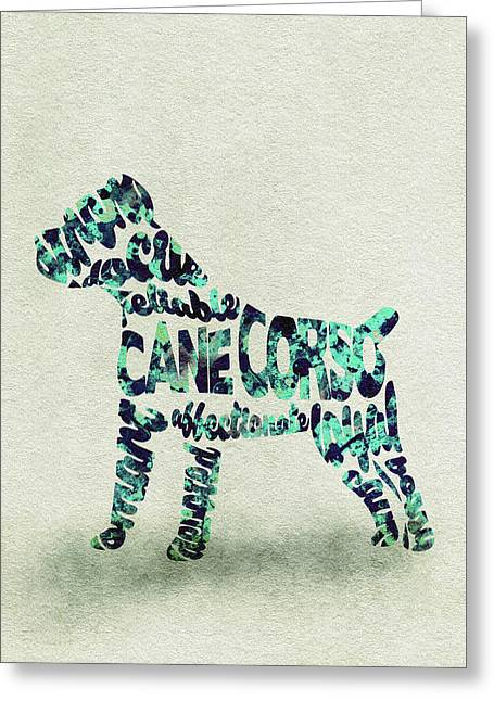 Greeting Card featuring the painting Cane Corso Watercolor Painting / Typographic Art by Ayse and Deniz