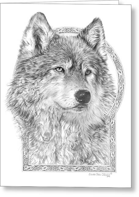 Canis Lupus Iv - Wolf Pack  Alpha Leader Greeting Card
