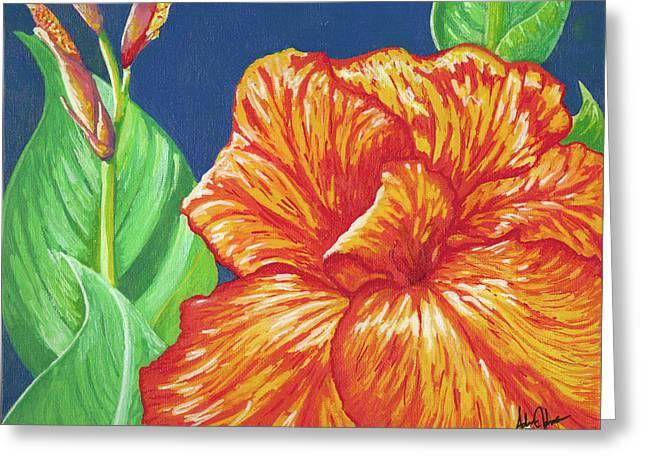 Canna Flower Greeting Card by Adam Johnson
