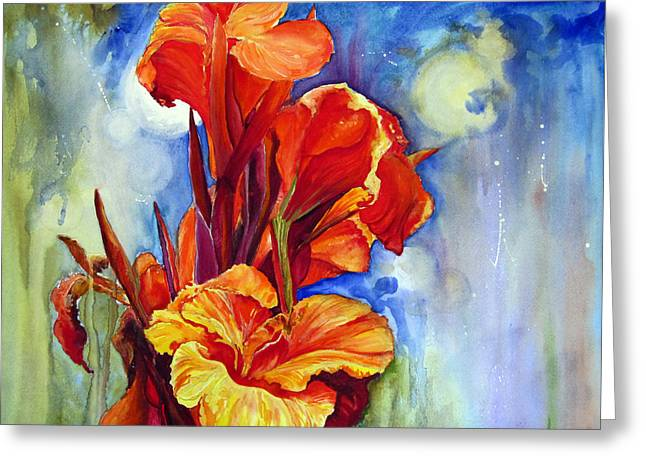 Greeting Card featuring the painting Canna Lilies by Priti Lathia