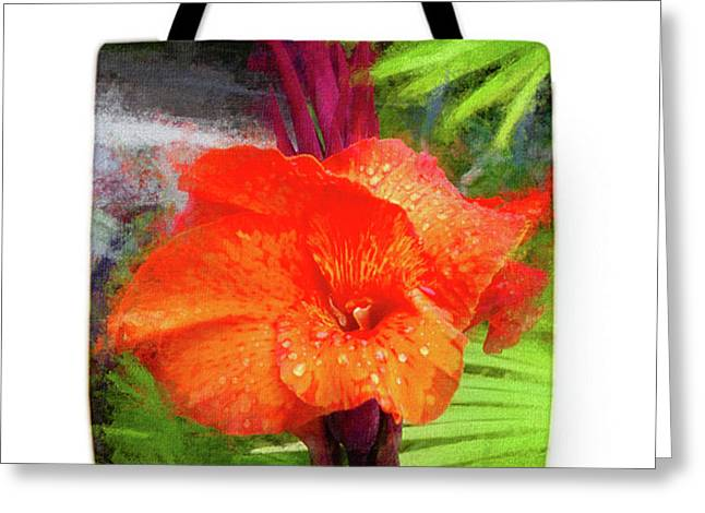 Canna Lily Red Bloom - Tote Greeting Card