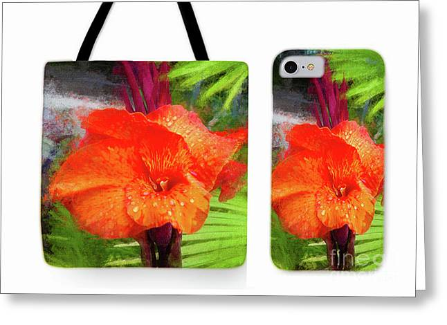Canna Lily Red Bloom Tote Phone Case Set Greeting Card