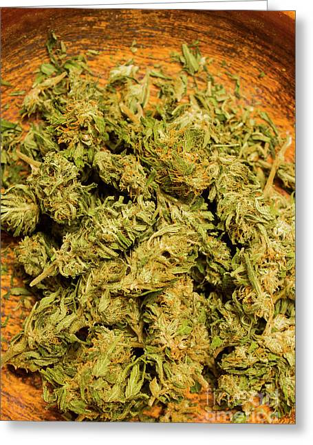 Cannabis Bowl Greeting Card by Jorgo Photography - Wall Art Gallery