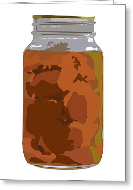 Canned Peaches Greeting Card by Robert Bissett