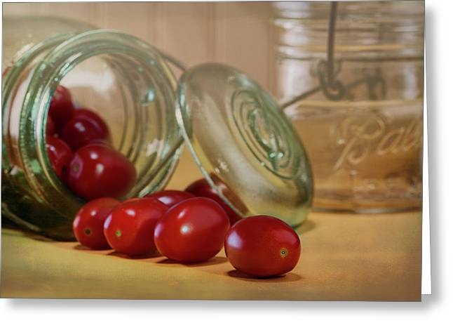 Canned Tomatoes - Kitchen Art Greeting Card by Tom Mc Nemar