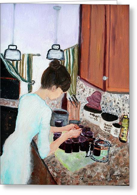 Greeting Card featuring the painting Canning Blueberry Jam by Aleezah Selinger