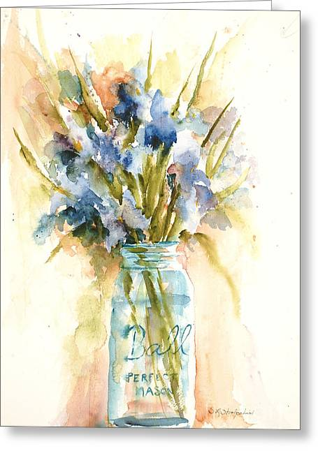 Canning Irises Greeting Card