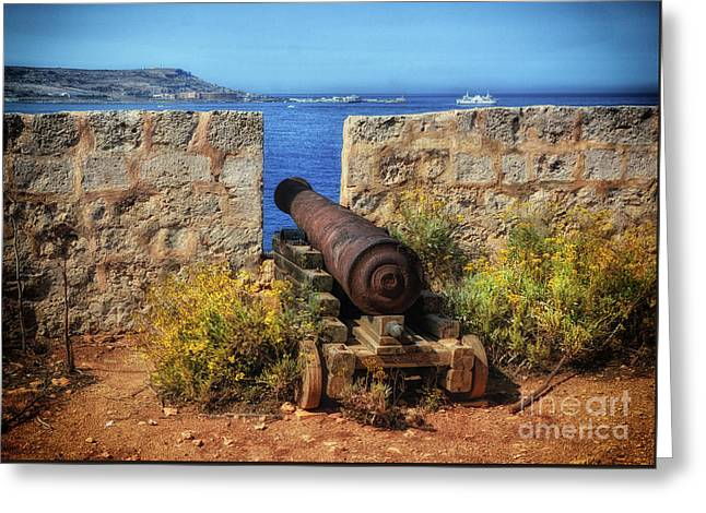 Cannon At Comino Battery Greeting Card by Stephan Grixti
