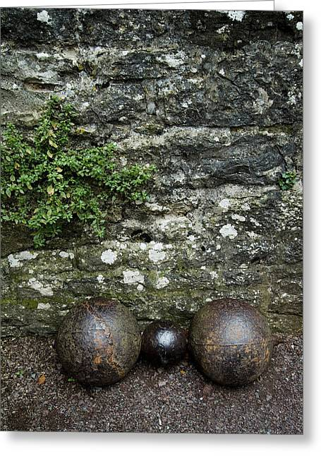 Cannon Balls At The Base Of A Stone Greeting Card