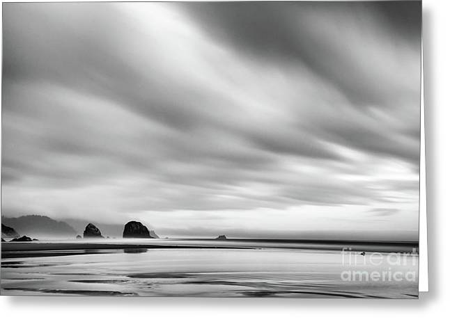 Cannon Beach Long Exposure Sunrise In Black And White Greeting Card