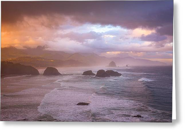 Cannon Beach Sunrise Storm Greeting Card by Darren White