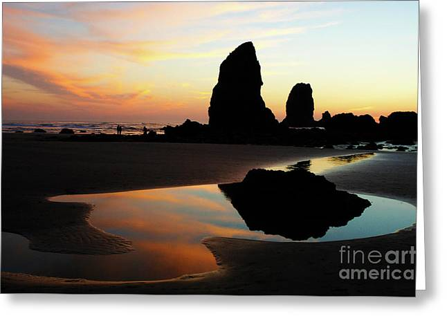 Cannon Beach Sunset Greeting Card by Bob Christopher