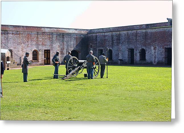 Cannon Excercise Greeting Card by Rodger Whitney