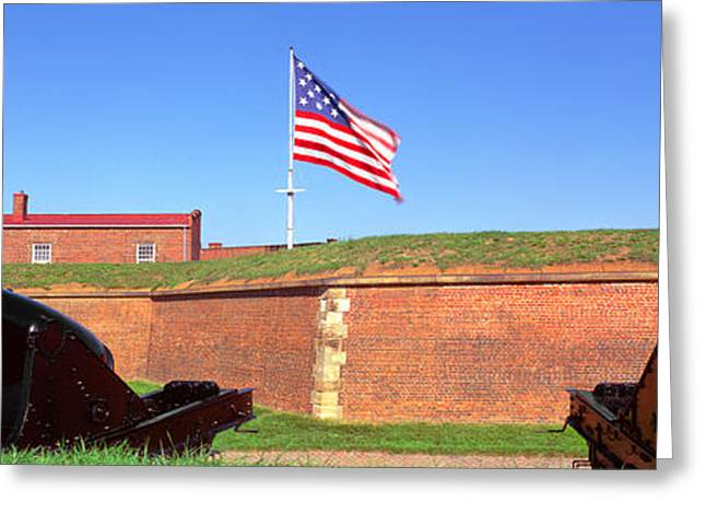 Cannons And Wall At Fort Mchenry Greeting Card by Panoramic Images