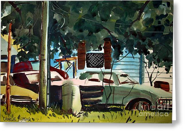 Greeting Card featuring the painting Cannus Auto And Used Cars Framed by Charlie Spear
