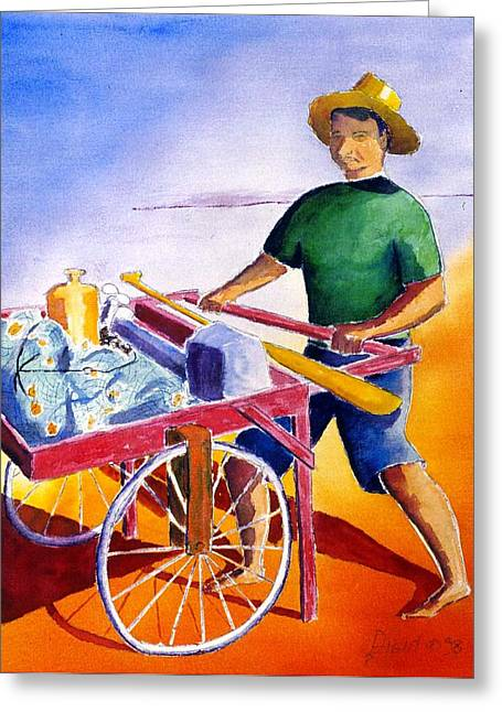 Canoe Fisherman With Cart Greeting Card by Buster Dight