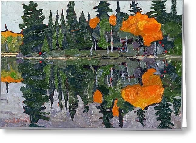 Canoe Lake Autumn Greeting Card by Phil Chadwick