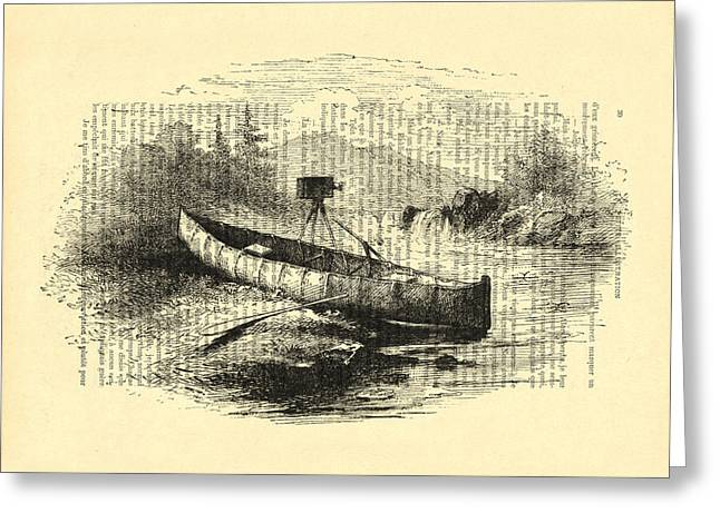 Canoe With Field Camera In Black And White Antique Illustration Greeting Card by Madame Memento