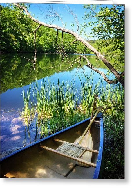 Canoe On A Mountain Lake Greeting Card