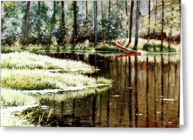 Canoe On Pond Greeting Card