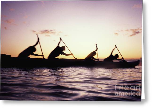 Canoe Race Greeting Card by Bob Abraham - Printscapes