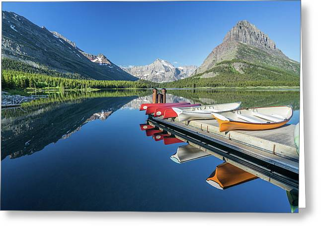 Canoe Reflections Greeting Card by Alpha Wanderlust