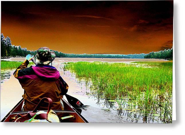 Canoe Trip Greeting Card by Peter  McIntosh