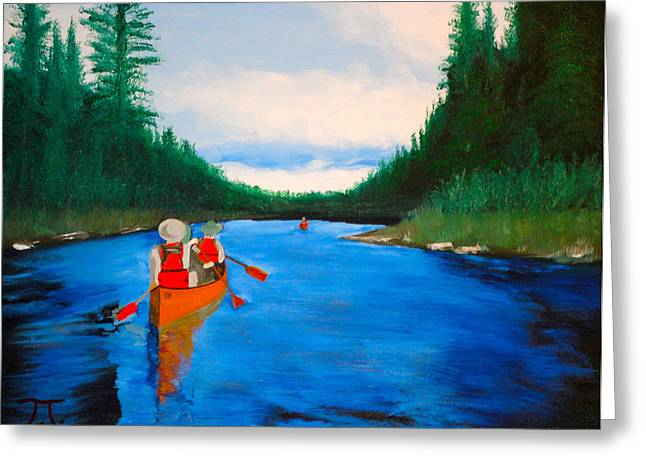 Boundary Waters Paintings Greeting Cards - Canoeing boundary waters BSA Greeting Card by Troy Thomas