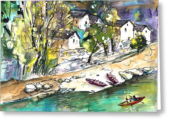 Canoeing In The Gorges Du Tarn Greeting Card by Miki De Goodaboom