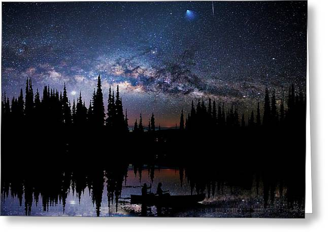 Canoeing - Milky Way - Night Scene Greeting Card