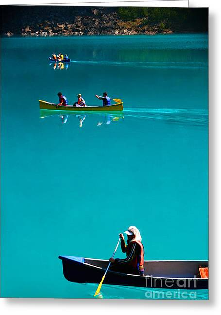 Canoeing On Glaciel Waters Greeting Card